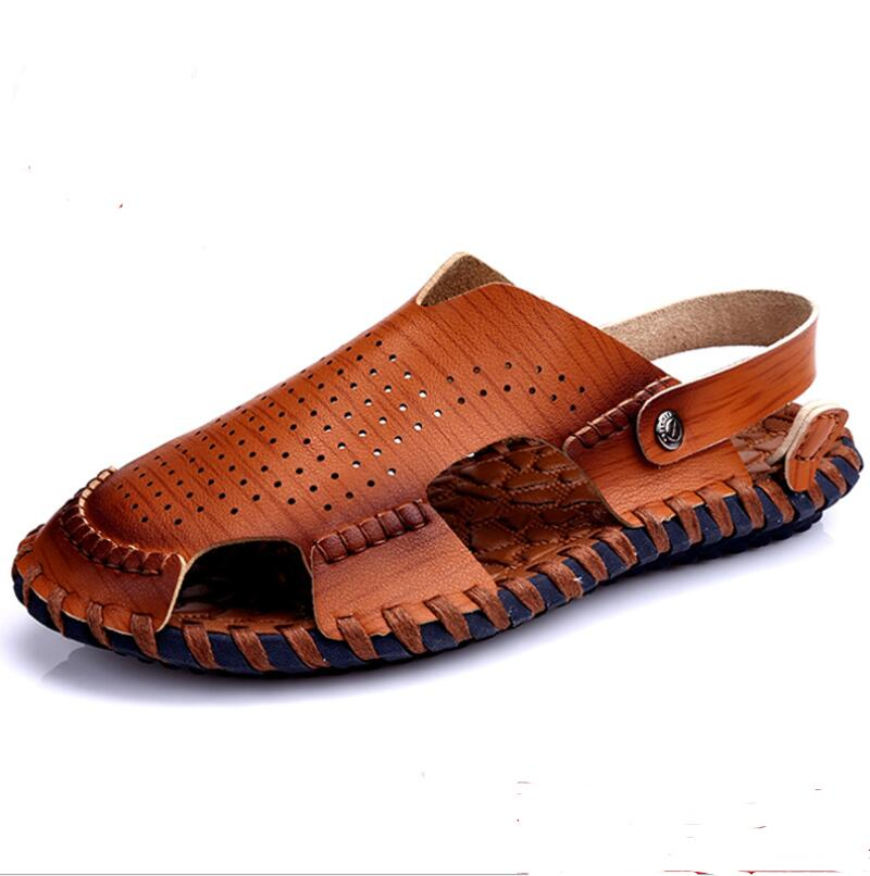 2018 male Genuine Leather casual Shoes Summer New Mens handmade Sandals Men Fashion Sandals And beach Slippers size 38-44