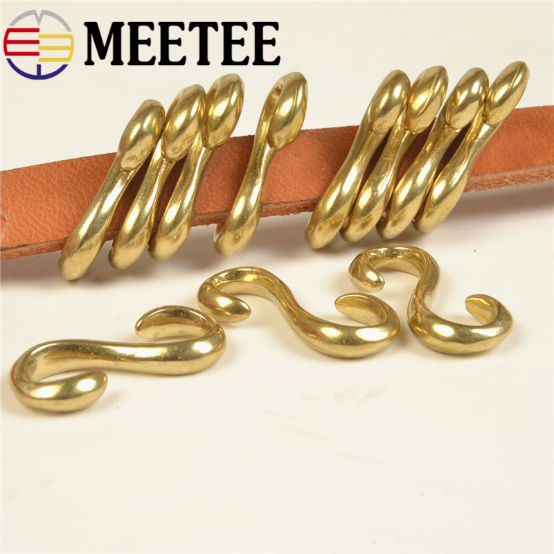 4pcs Meetee Pure Copper Hook S Shape Solid Brass Buckle DIY Leather Bracelet Luggage Accessories F1-43