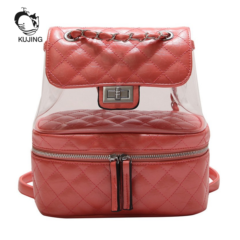 KUJIN Women Backpack Fashion Rhombic Multi-purpose Women Backpack Luxury Travel Women Beach Backpack Hot Quality Ladies Backpack