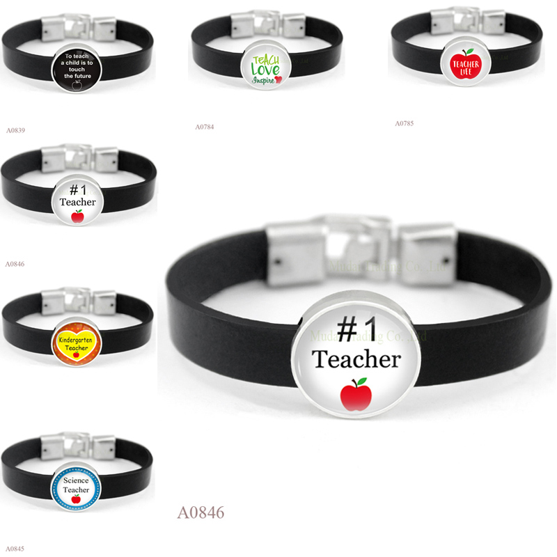(10PCS/lot)Teach Teacher Life Charm Black Leather Cuff Bracelets Glass Cabochon Teacher Picture Friendship Women Men Girl Gift