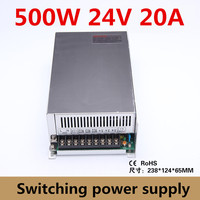 switching power supply 500W 24V 20A Single Output For CNC Router Foaming Mill Cut Laser Engraver Plasma LED Light cctv smps