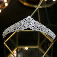 Sparkling Full Zircon Tiaras Crowns for Brides Princess Silver Wedding Hairbands Crystal Evening Hair Jewelry Wedding Gift