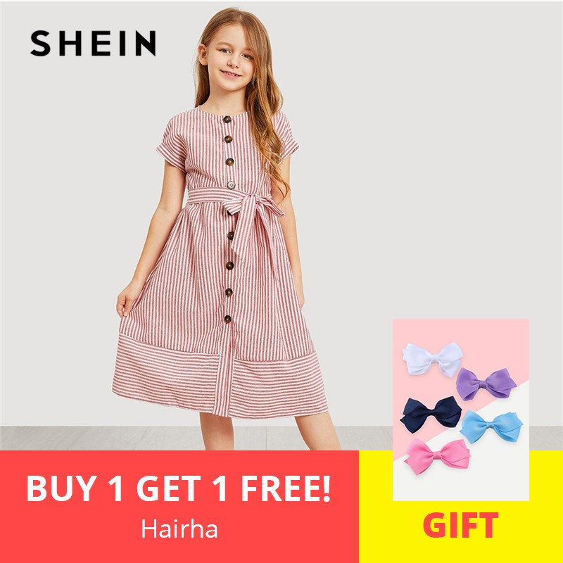 SHEIN Kiddie Pink Button Up Belted Striped Elegant Shirt Dress Girls Clothing 2019 Summer Korean Fashion Casual Girls Long Dress korean fashion autumn knitted dress suit women knee length casual sleeveless tank dress cardigan lady two piece dress sets