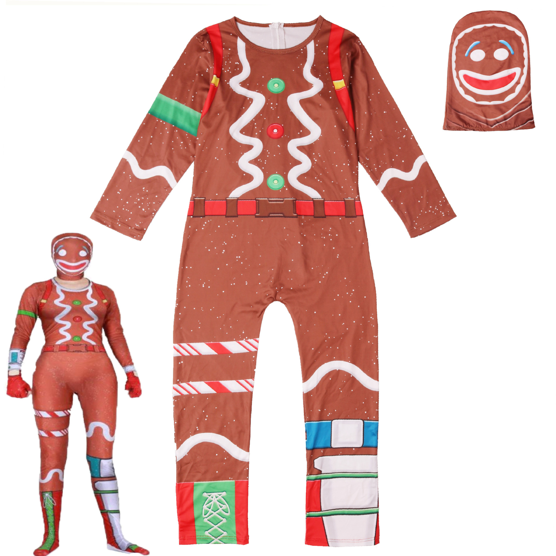 Gingerbread Man Cosplay Costume Party for Kids Boy Girl Fancy Jumpsuits Mask Halloween/Christmas Costume for Man and Woman