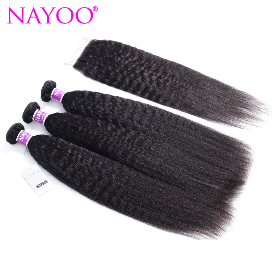 NAYOO Mongolian Kinky Straight 3 Bundles Human Hair Weave With Free/Middle/Three Part Lace Closure Natural Color Remy Hair