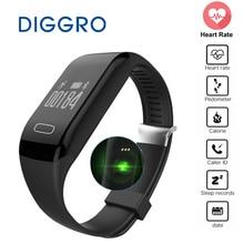 Diggro h3 inteligente pulsera pulsera pulsómetro bluetooth podómetro deporte gimnasio rastreador de banda inteligente para android ios teléfono