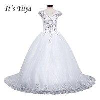Free Shipping YiiYa 2016 New Bridal White Wedding Dress Wedding Ball Gowns Trailing Romantic Train Wedding