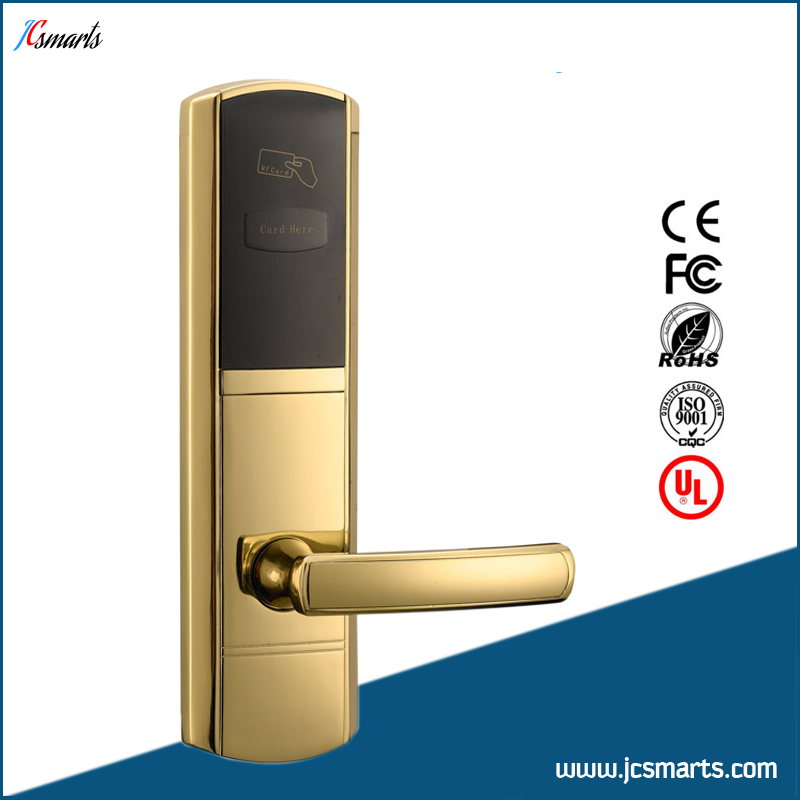 China manufacture hotel card reader locks rfid hotel door lock system hotel lock system rfid t5577 hotel lock gold silver zinc alloy forging material sn ca 8037