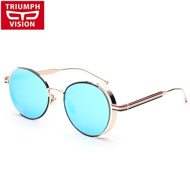 TRIUMPH VISION Steampunk Lunettes de Soleil Hommes Vintage Ronde Nuances  Marque Designer Hommes lunettes de Soleil 71d9d58348c5