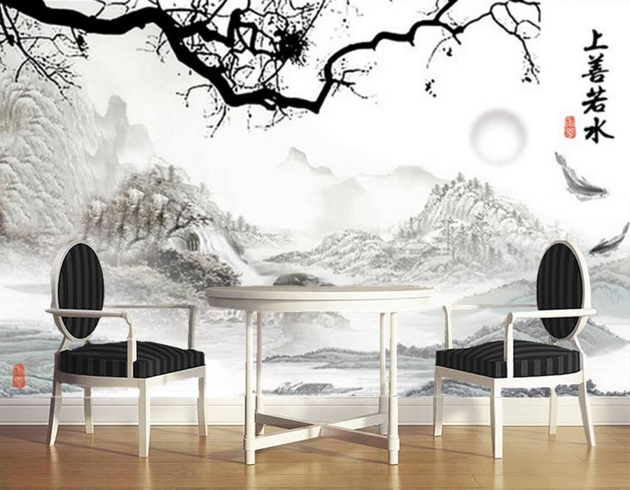 Papel de parede,Aesthetic Chinese ink painting wallpaper,hotel room restaurant living room tv sofa wall bedroom mural wallpaper