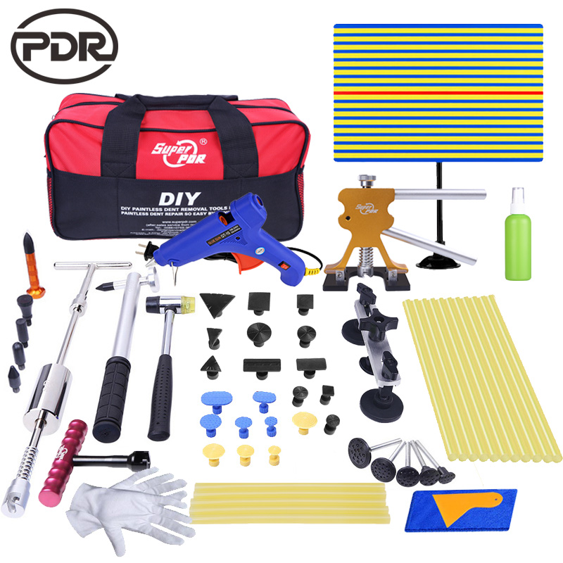 PDR Tools Ferramentas Paintless Dent Removal Car Dents Fix Puller Kit Remover Removing Dents Auto Repair Tool Set With Tool Bag 500pcs stud welder draw pin set for removing dents car body sheet metal 2 0mm