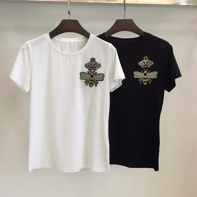 New Arrival 2017 Short Sleeve little Bee Beaded Cotton T-shirt Women T-shirt  161214YD01