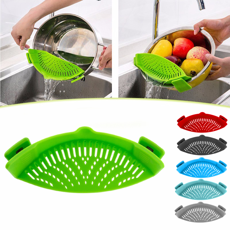 Silikone colanders køkkenklip på en sigte til pander Afløb for dræning af overskydende væske Univers Drain pasta grøntsager køkkenredskaber