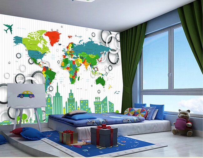 Custom papel DE parede infantil large murals world map used in the living room wall vinyl which papel DE parede the physical world wall map material laminated