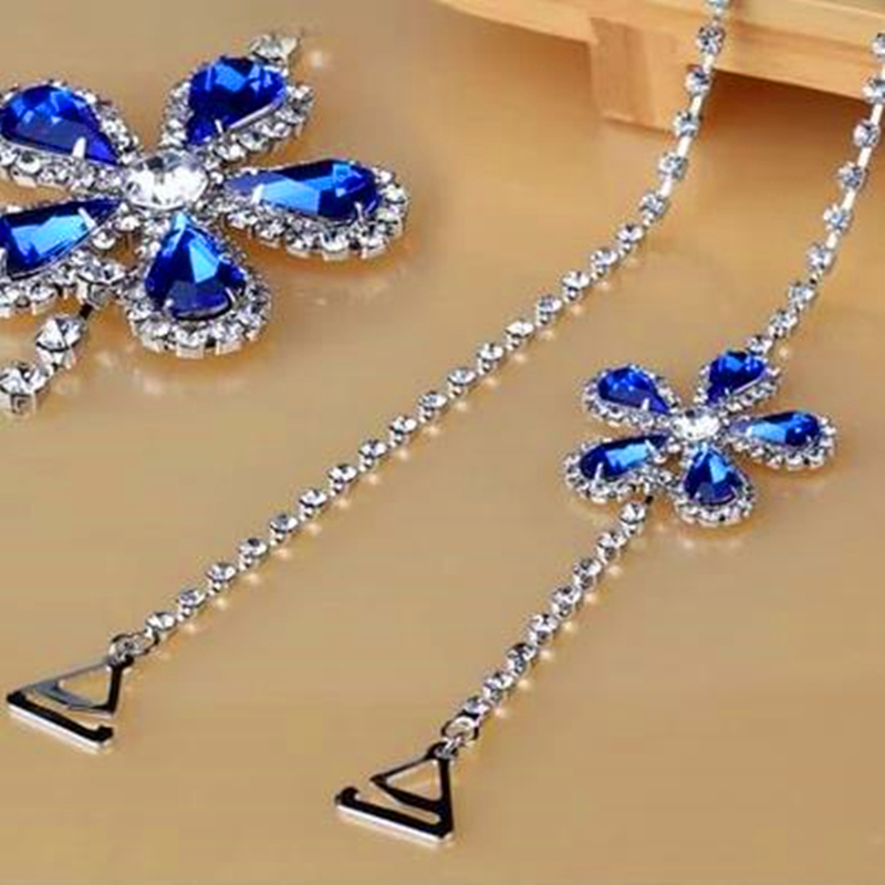 Rhinestones Bra Straps Womens Shoulder Adjustable Invisible Straps Red Blue Party Wedding Clothes Accessory Blue Red, 1 Pair