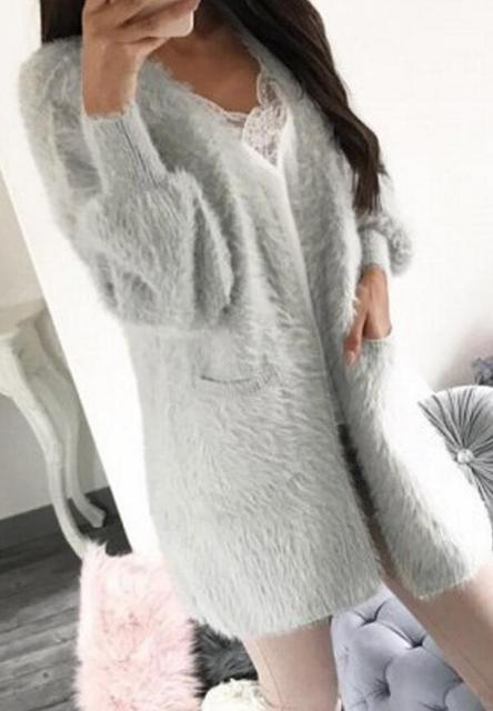 0b9c10595025e9 New Autumn Winter Fashion Women Long Sleeve loose cardigan sweater Womens  Knitted Female Thick Plush Cardigan