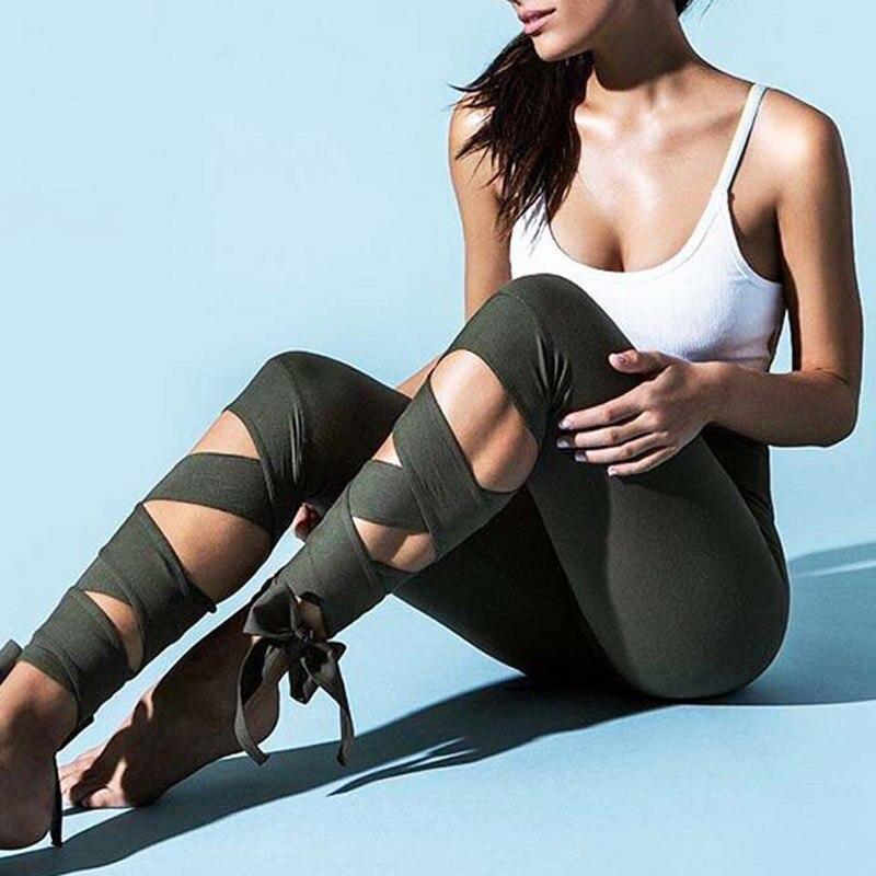 Women Ballerina Yoga Pants bandage Cropped leggings Sports dance Tight Leggings fitness Cross Pants Running Tights