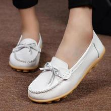 Genuine Leather Flat Shoes Women Brand Designer Women Loafers Casual Flats Heels Slip On Cheap White Nurse Shoes Big Size