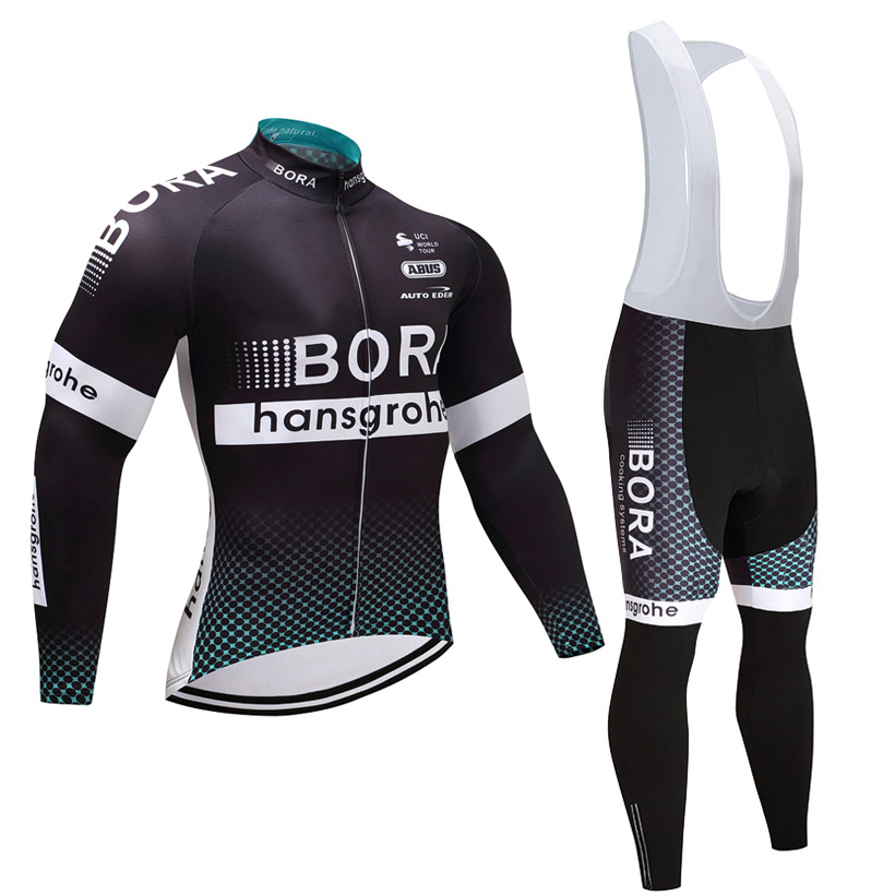 Winter 2018 TEAM BORA Cycling JERSEY Bike Pants set mens Ropa Ciclismo Thermal fleece Bicycle clothing Long sleeves Cycling wear black thermal fleece cycling clothing winter fleece long adequate quality cycling jersey bicycle clothing cc5081