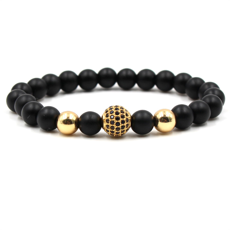 8mm Black Natural Stone Bracelet with 10mm Micro Paved Zircon Ball Stone Elastic Bracelet Jewelry Gift