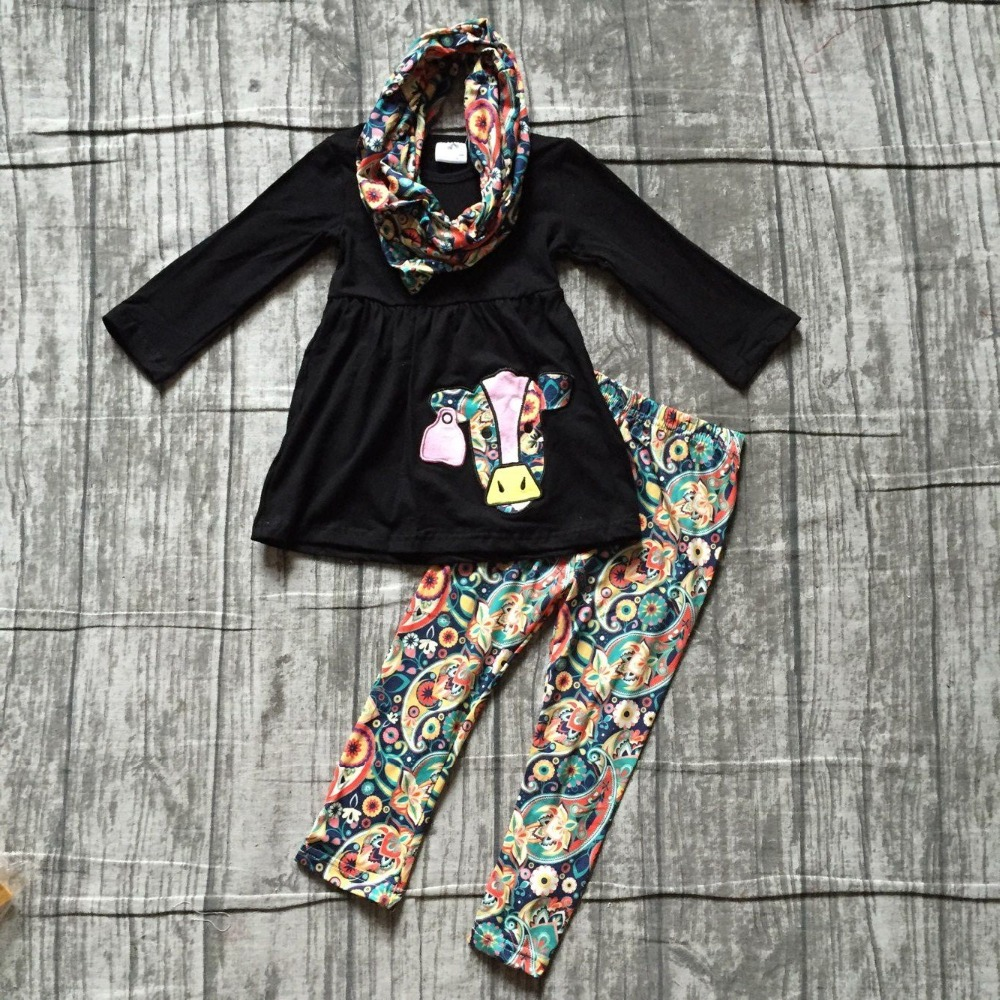 new Fall/winter 3 pieces scarf baby girls kids wear outfits cotton cow black floral milk silk pant boutique children clothing все цены