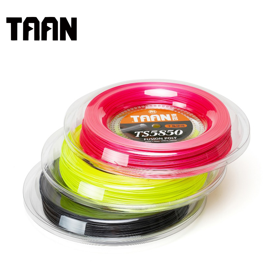 TAAN 2pcs/lot 1.20mm TT5850 Fusion Poly Cyclo Decagonal Tennis String Polyester String Racket Sport String 200 Meters Reel 5850 1 reel taan 1 15mm ts5600 tennis racket string fusion poly durable tennis training power string 200m