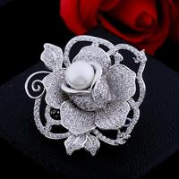 Hot Sale Flowers Enamel Rhinestone Brooches For Women Crystal Rose Flowers Simulated Pearl Brooch Pin Wedding Christmas Gifts