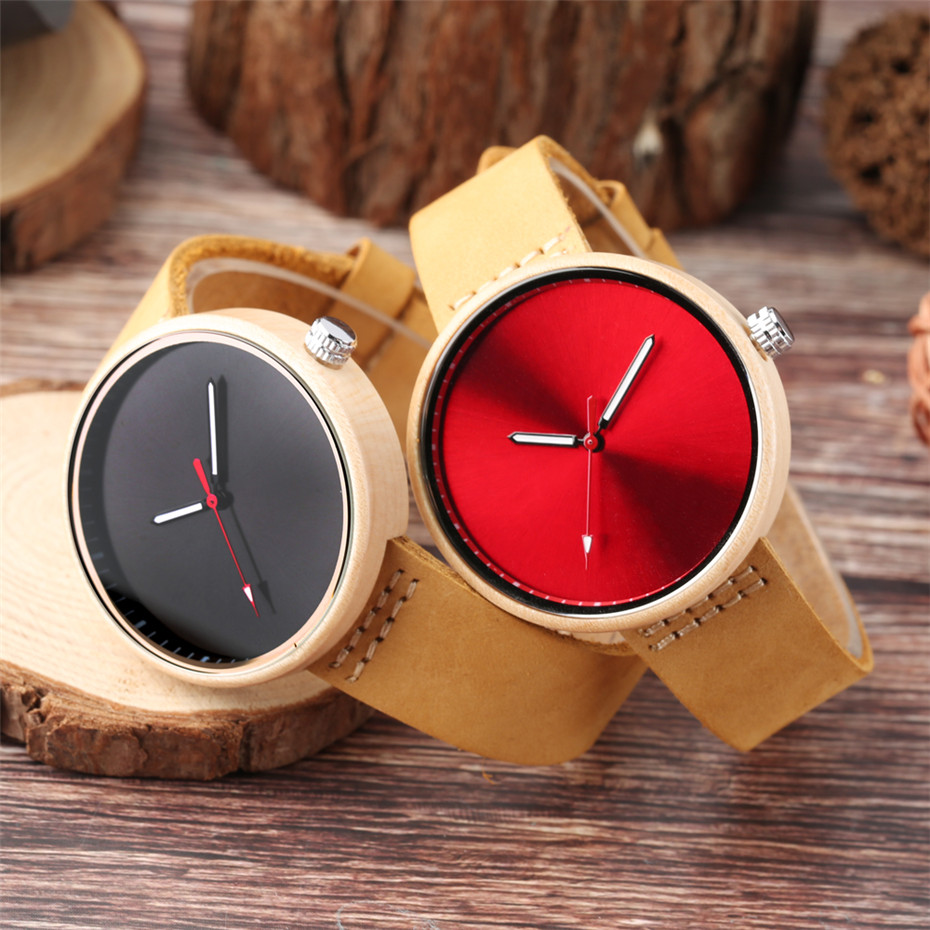 Black/Blue/Red Colorful Dial Women Wrist Watch Maple Wood Case Lady Watches Simple Casual Leather Band 2018 New Fashion Clock fashion silicone band round mirror dial blue led light wrist watch black 1 x cr2016