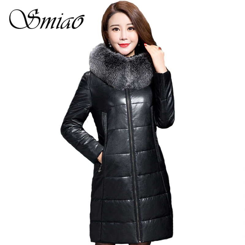 Smiao 2017 Winter Women Cotton Parkas Hooded Fur Collar Thick Warm PU Leather Jacket Overcoat Long Coat Female Outerwear 5XL women winter coat jacket thick warm woman parkas medium long female overcoat fur collar hooded cotton padded coats