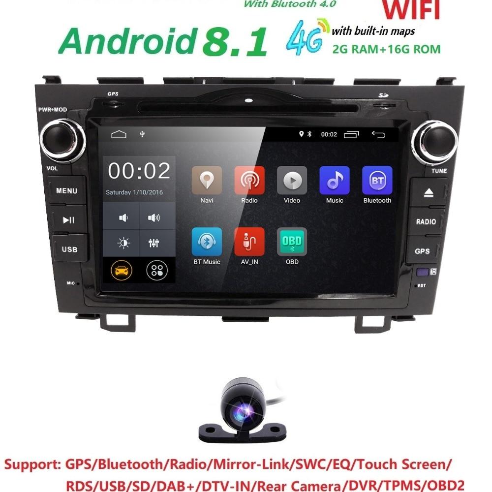Gps Navigation Android 8.1 pour HONDA CRV CR-V 2006-2011 2din voiture lecteur dvd de voiture stéréo de voiture radio HD 1024*600 + CAMÉRA LIBRE + CARTES