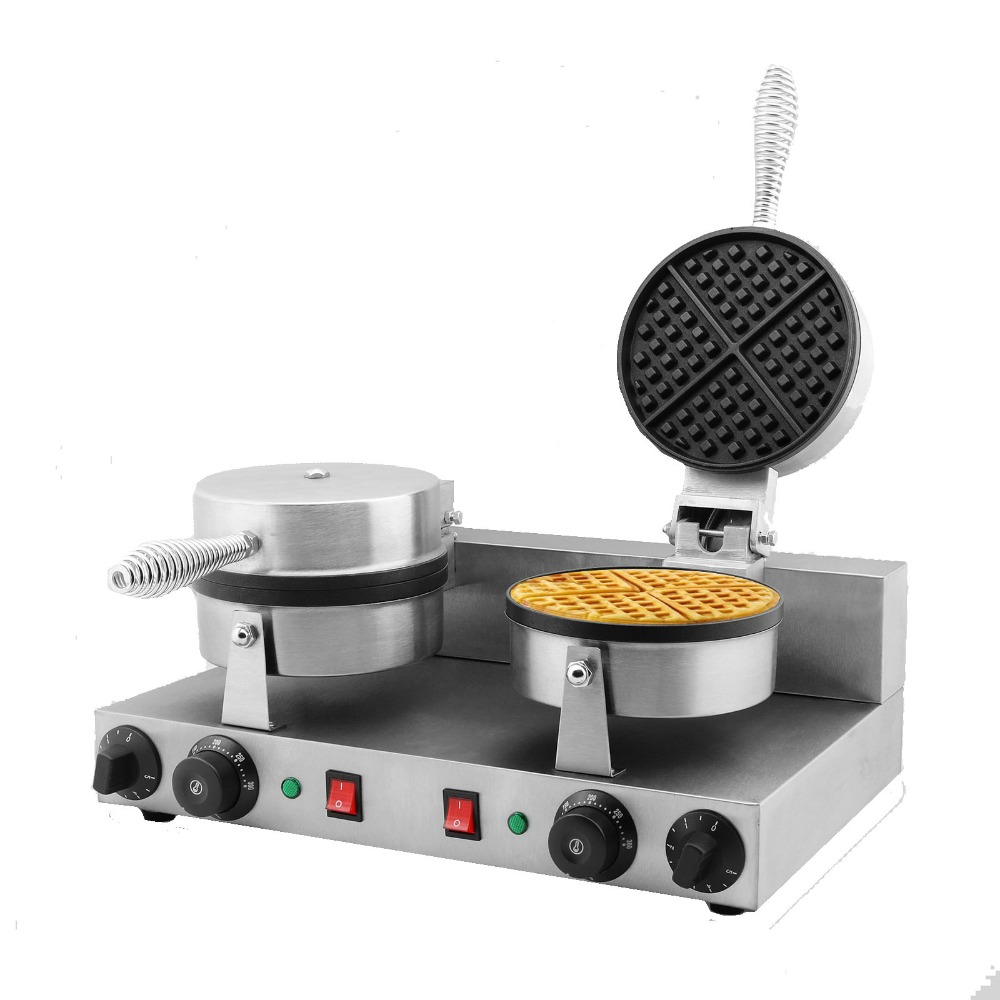 MARCHEF 2000W Commercial Electric Double Waffle Maker Machine Baker Non-Stick Stainless Steel directly factory price commercial electric double head egg waffle maker for round waffle and rectangle waffle