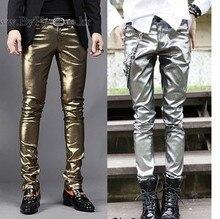 Envío Gratis marca de moda de alta calidad de oro plata etapa Delgado pu  pantalones  a67e1b56d11