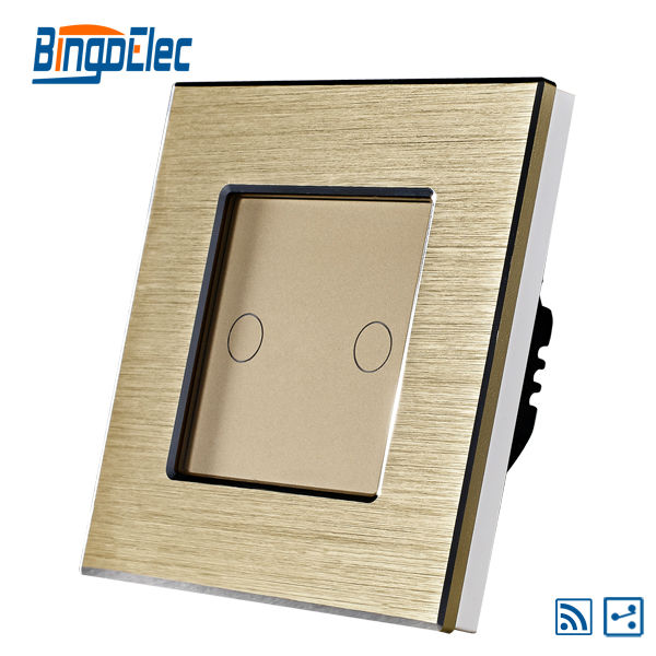 Gold color 2gang 2way remote electrical touch switch,aluminum frame with glass panel,EU/UK standard AC110-240V,Hot Sale 1gang 1way touch switch with remote function 433 92mhz silver aluminum and black glass panel remote switch eu uk hot sale