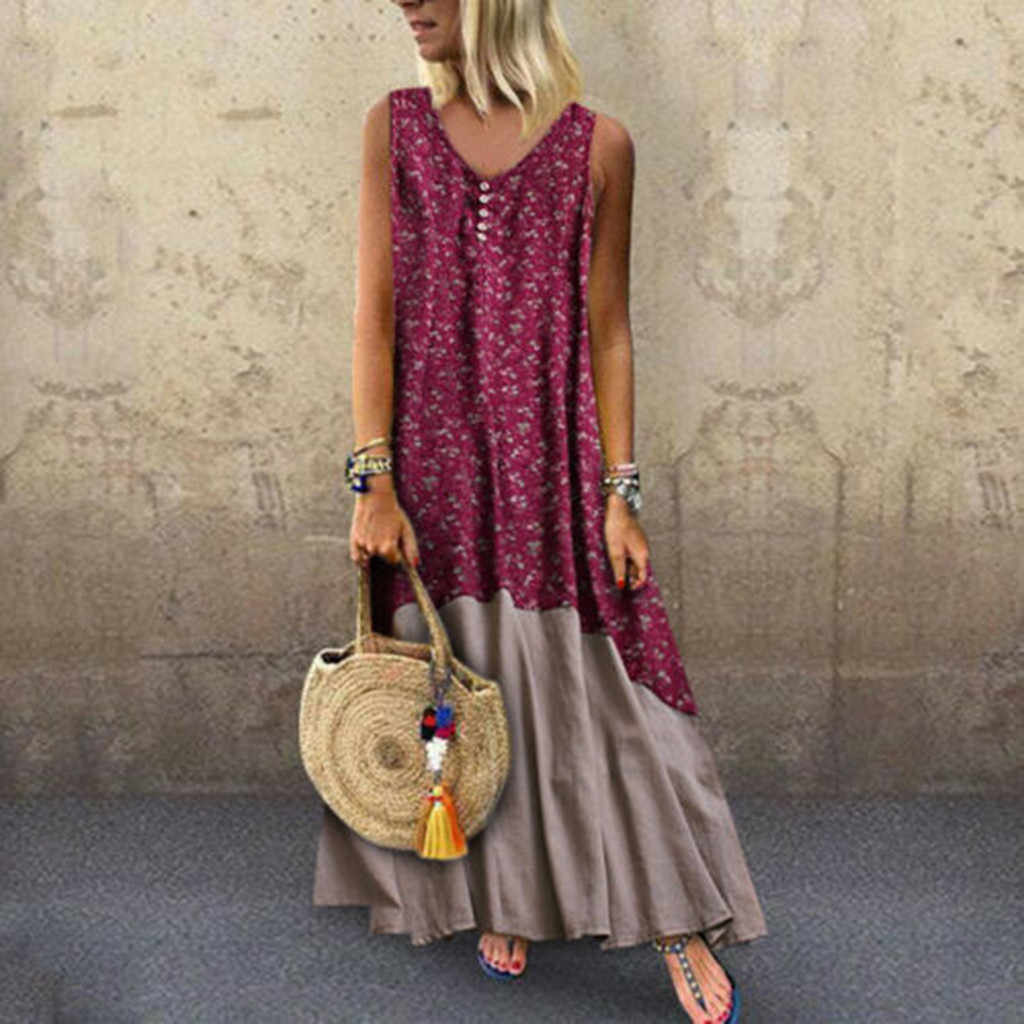 feitong Plus Size Women Vintage  Patchwork beach Casual Shirt Dress Female 2019 Loose Boho Long Plus Size Retro Maxi Dress #B