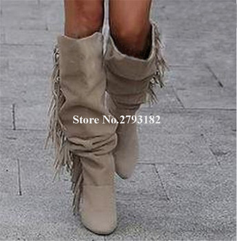 Women Elegant Charming Pointed Toe Suede Leather Over Knee Tassels Boots Beige Fringes Slip-on Long High Heel Boots