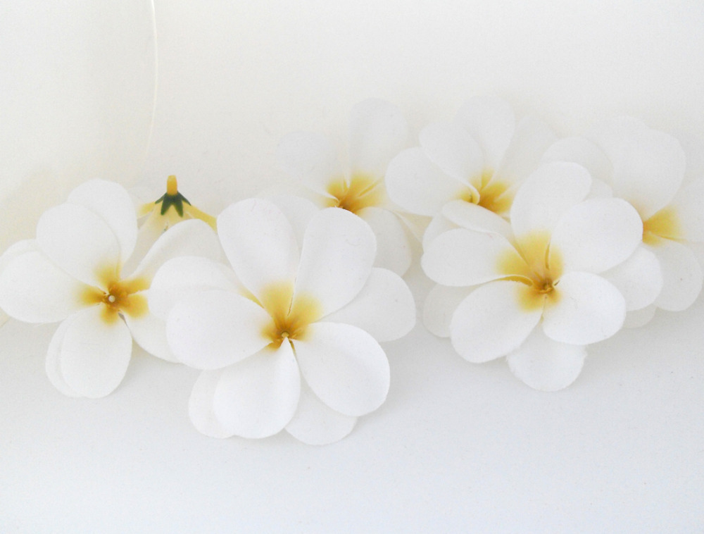 50 pieces white artificial hawaiian plumeria frangipani for Artificial flowers for wedding decoration