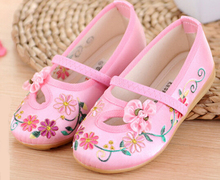 Большие девочки мэри джейн цветок вышивка резинка детей маленькие дети обувь для свадьбы танцы китайской традиции