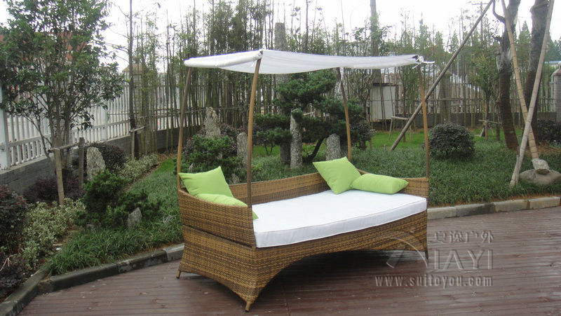 Outdoor Wicker Daybed Lounger rattan day bed garden furniture sun