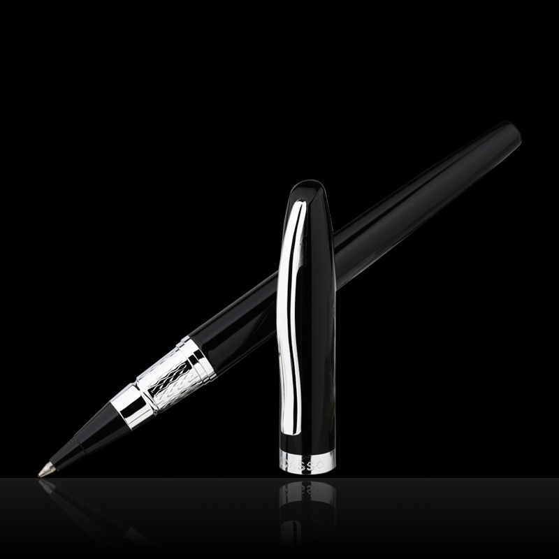 Hgih Quality Stationery Picasso Pimio 83 Pure Black and Silver Clip Roller Ball Pen Luxury Gift Ballpoint Pens Free Shipping pimio 608 luxury black and silver clip signature roller ball pen with gem with original gift box ballpoint pens free shipping