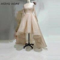 Nieuwe collectie Sequin Hi-Laag Prom Dresses Hot Stijl Afrikaanse Lange mouwen Prom dress avondjurk Arabisch Party jurken
