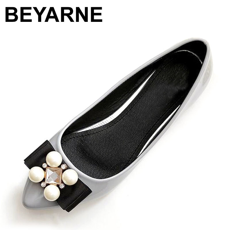 BEYARNE New Women Soft Leather Flats Fashion Spring Casual Black Pointy Toe Ballerina Ballet Flat Slip On Shoes Work Shoes odetina 2017 new women pointed metal toe loafers women ballerina flats black ladies slip on flats plus size spring casual shoes