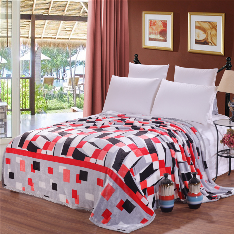 Simple Fashion Grey Red Patchwork Pattern Throw <font><b>Blanket</b></font>/Fleece <font><b>Blanket</b></font> On The Bed,Soft Autumn Upgraded Flannel <font><b>Blanket</b></font> For Sofa