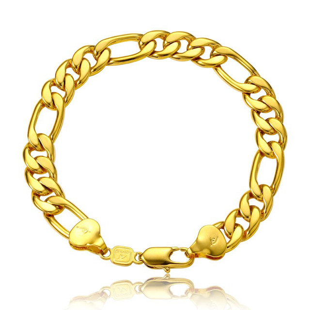 10mm de largura figaro cadeia pulseira de ouro amarelo cheio de moda das mulheres dos homens pulseira