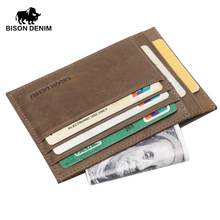 BISON DENIM Chaude rétro conception Porte-Monnaie hommes bcredit carte titulaire Kaki Vintage argent de poche portefeuille mini petit portefeuilles