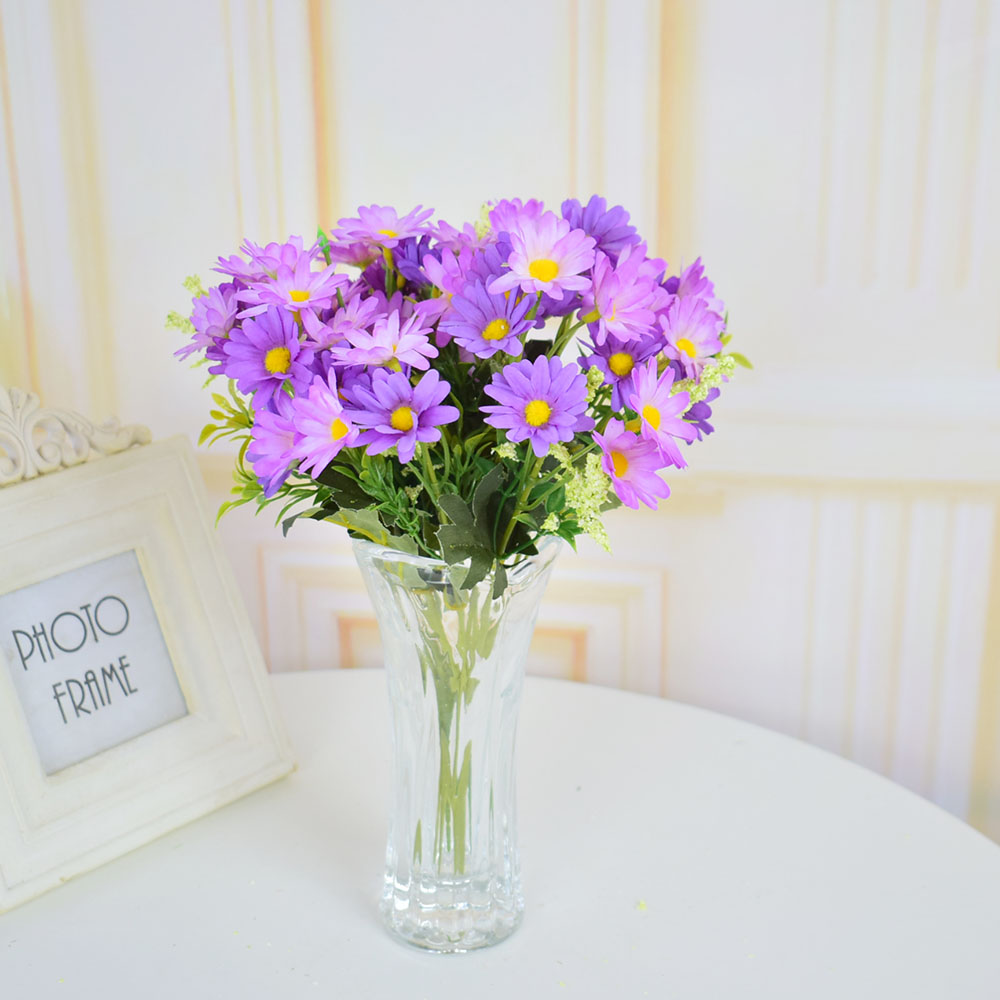 artificial flowers with vase silk roses daisy milan plants for home table Christmas wedding decoration glass vase white purple
