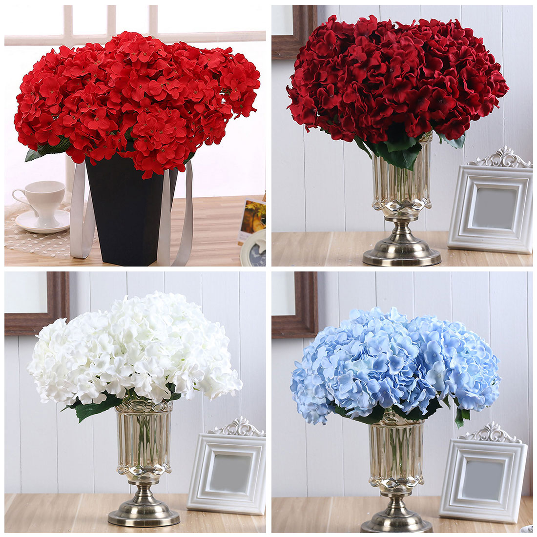 Aliexpress Decoration Mariage 6 Heads Silk Diy Flower Peony Rose Artificial Hydrangea