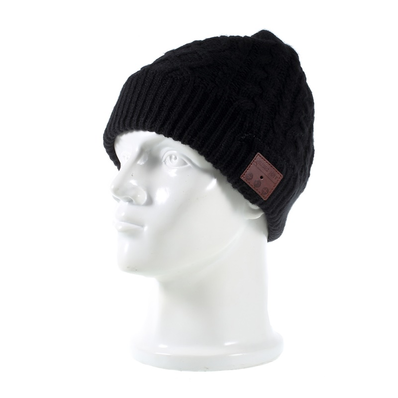 DULCII Hat Headset Knitted Winter Warm Cap Built-in Wireless Bluetooth Headphone & Microphone Support TF Card Earphones Black