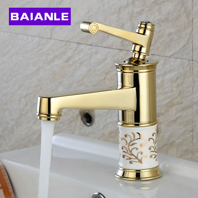 цена на Brass Basin Faucet Ceramic decoration Mixer Tap Fashion Gold/Chrome  Faucet Copper Hot and Cold Water Bathroom mixer taps