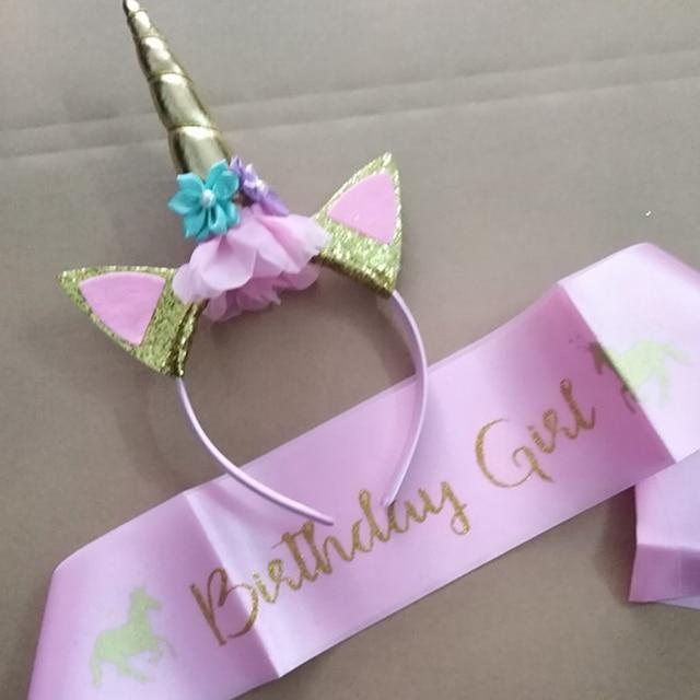 ca8303253b538 US $3.34 5% OFF|1 set Kawaii new Unicorn Headband Sash Birthday Girl Satin  Sash Birthday Party Decoraions Unicorn Headband Sash Baby Shower Girl-in ...