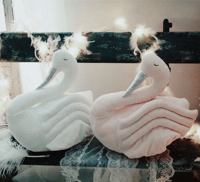 2017 New Fahion Baby White Pink Swan Stuff Plush Toy Cushion Pillow Kids Room Bed Sofa Decoration Children Birthday Gift pink swan 100